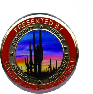 Challenge Coin of Mayor Jonathan Rothshild of Tucson Arizona.