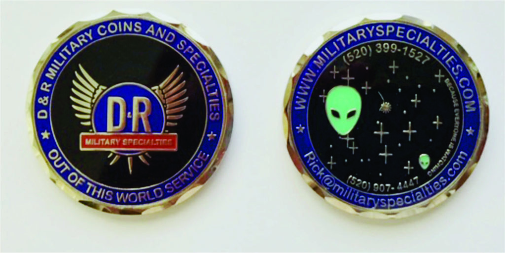 Example of a business coin challenge coin.  The best business card in the world.    It shows a sales message as well as contact information.  Plus a little humor added in.